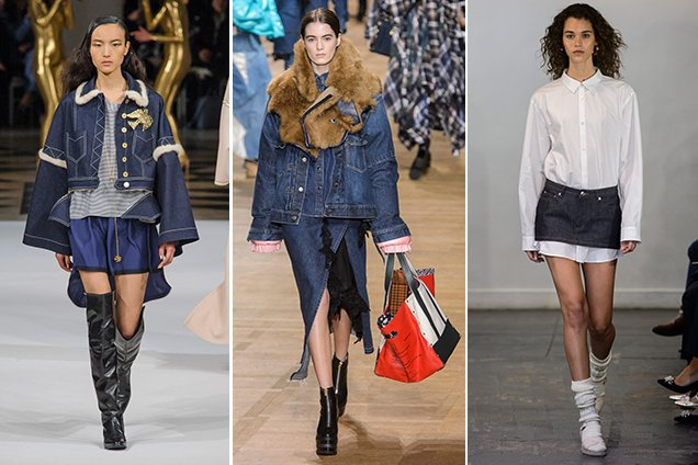 Denim skirts from Alexis Mabille Fall 2017, Sacai Fall 2017, A.P.C. Fall 2017