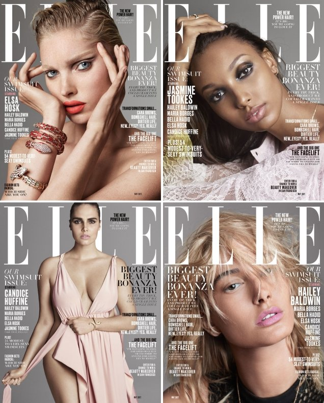 US Elle May 2017 : Bella, Candice, Elsa, Hailey, Jasmine & Maria by Terry Tsiolis