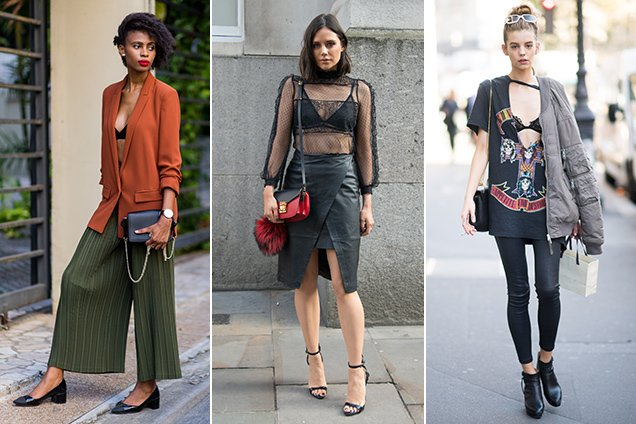 3 street style looks showing how to wear a bralette