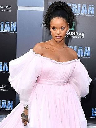 "Rihanna in custom Giambattista Valli Couture at the ""Valerian and the City of a Thousand Planets"" premiere."