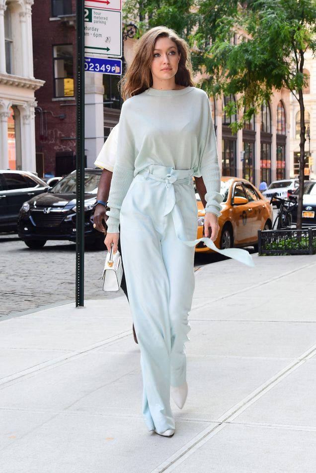 Gigi Hadid wears sky blue monochromatic Sally LaPointe outfit