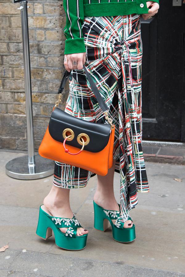 Fashion blogger Kate Foley wears bejeweled Miu Miu shoes at London Fashion Week Fall 2017