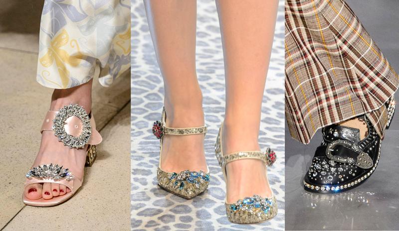 Bejeweled shoes on the Miu Miu, Dolce & Gabbana, Gucci Fall 2017 Runways