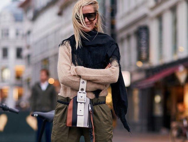 Celine Aagaard wearing wristlet bag on August 8, 2017 in Copenhagen, Denmark