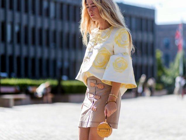 Emili Sindlev wears wristlet at Oslo Fashion Week Spring 2018