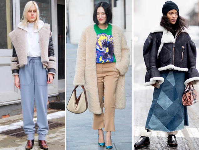 Street stylists go luxe in shearling jackets and coats.