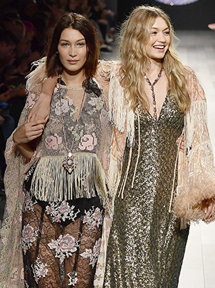 Bella Hadid and Gigi Hadid at Anna Sui Spring 2018.