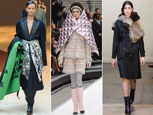 Blanket scarves on the Fall 2017 runways. Celine Fall 2017, Chanel Fall 2017, A.P.C. Fall 2017