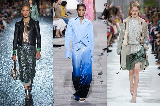 Sequins on the Spring 2018 runways at Coach 1941 Spring 2018, Michael Kors Spring 2018, Valentino Spring 2018