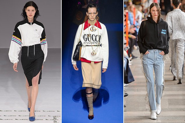Sweatshirts on the Spring 2018 runways. Lacoste Spring 2018, Gucci Spring 2018, Each x Other Spring 2018
