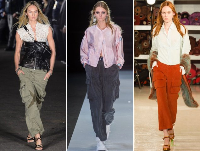 Cargo pants on the Spring 2018 runways at Alexander Wang Spring 2018, Emporio Armani Spring 2018, Sies Marjan Spring 201