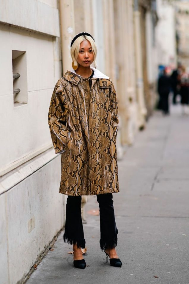 Margaret Zhang wears snakeskin print jacket