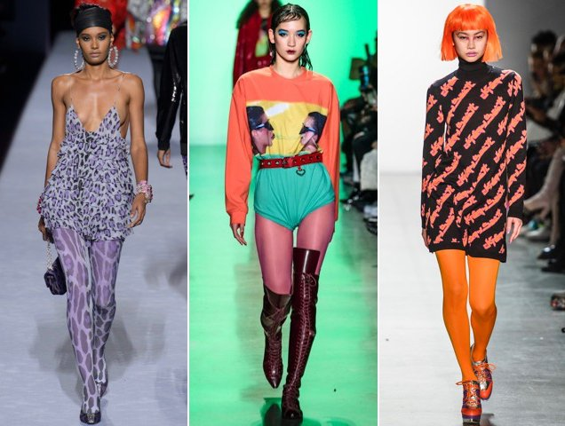 Tights for women in every color of the rainbow at Tom Ford Fall 2018, Adam Selman Fall 2018, Jeremy Scott Fall 2018