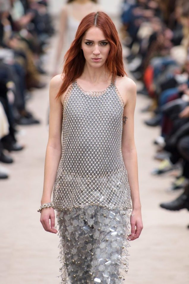Teddy Quinlivan on the runway at Paco Rabanne Fall 2018.