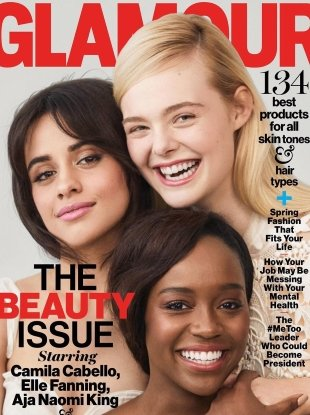 US Glamour April 2018 : Camila Cabello, Elle Fanning & Aja Naomi King by Olivia Malone