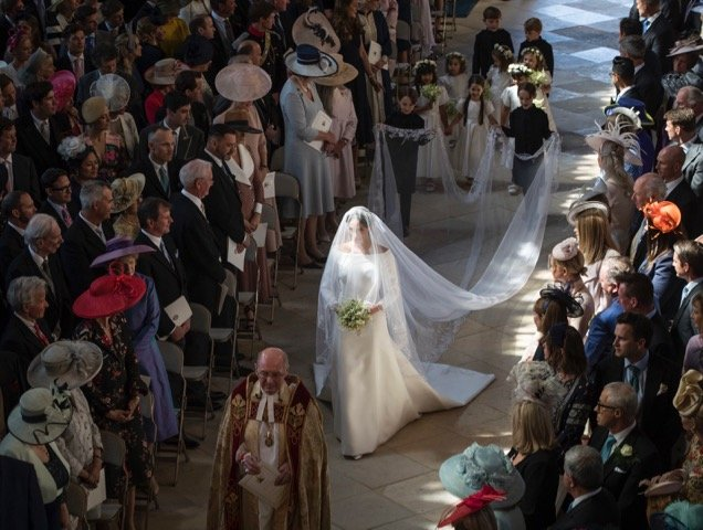 Meghan Markle walks down the aisle.