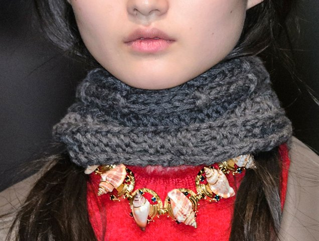 Shell necklace at Prada Fall 2017