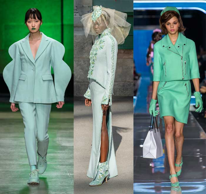 Neo mint on the Fall 2018 runways at Annakiki, Chanel Haute Couture and Moschino