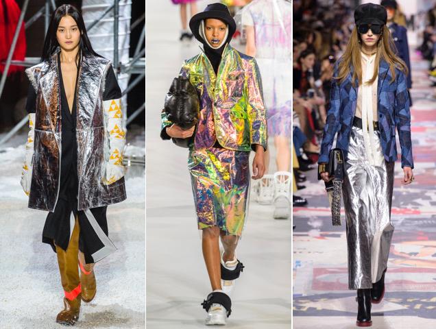 Futuristic fashion includes foil-like and prismatic fabrics.