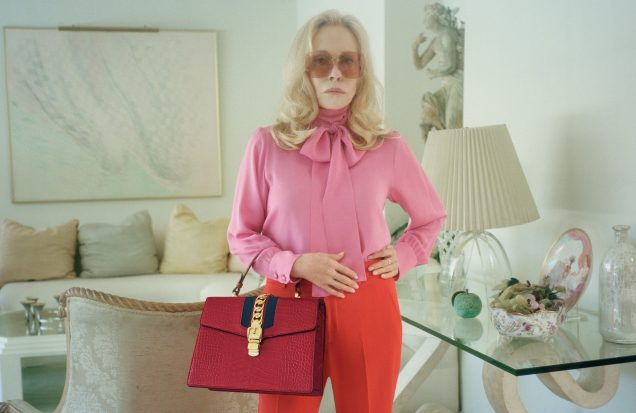 Faye Dunaway in Gucci's campaign for its new bag, the Sylvie.