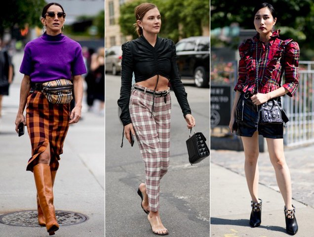 Plaid spotted outside the New York Fashion Week Spring 2019 shows.