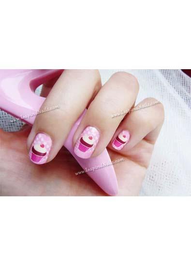 Inspired Nails Pink Cupcake Nail Art