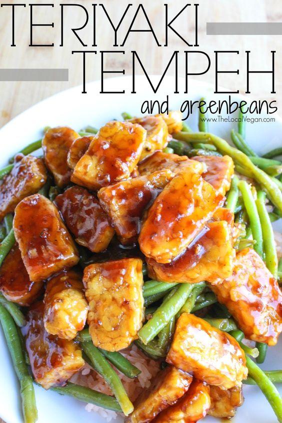 Teriyaki Tempeh and Green Beans