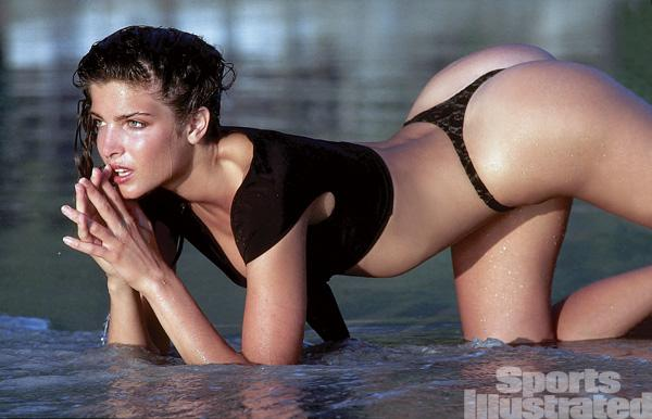 Sexy black swimsuit models