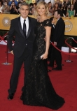 Stacy Keibler (in Marchesa) and George Clooney