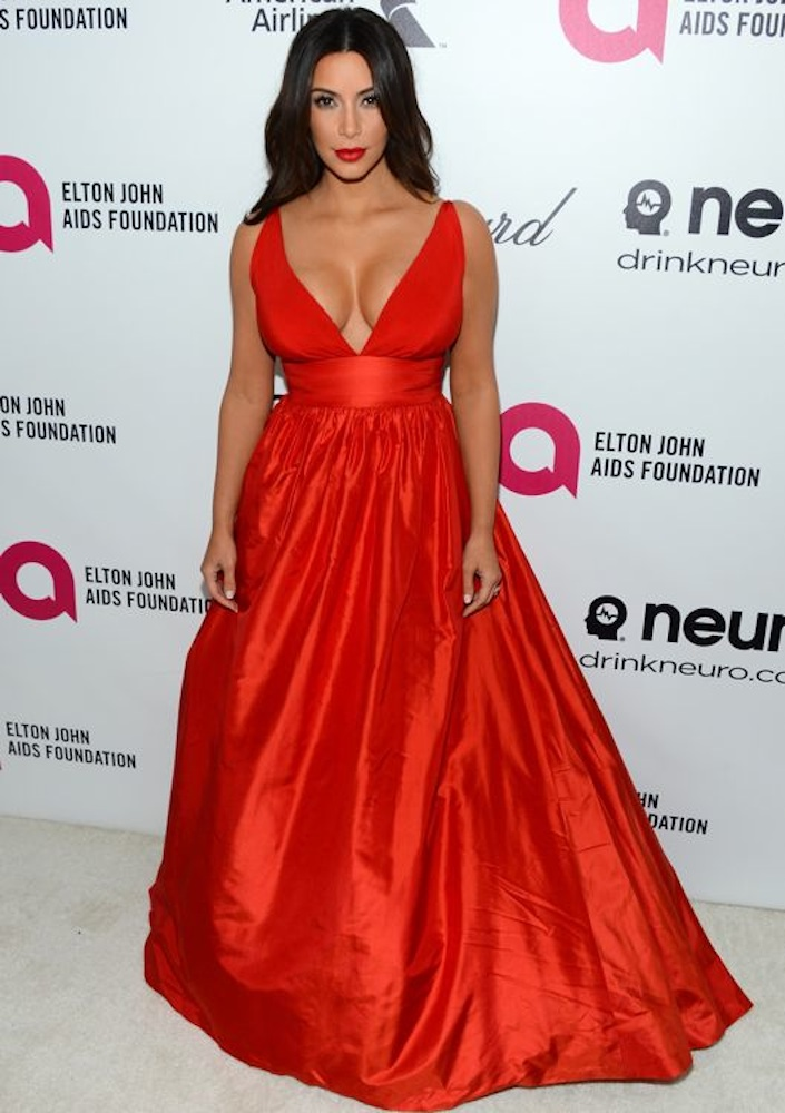 Kim Kardashian at the 22nd Annual Elton John AIDS Foundation Academy Awards Viewing Party