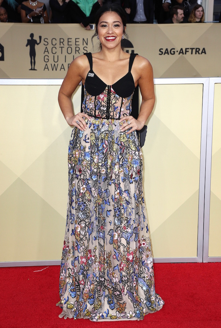 Gina Rodriguez  All the Glitz and Glamour From the 2018 SAG Awards Red Carpet Gina Rodriguez 2018 SAG Awards