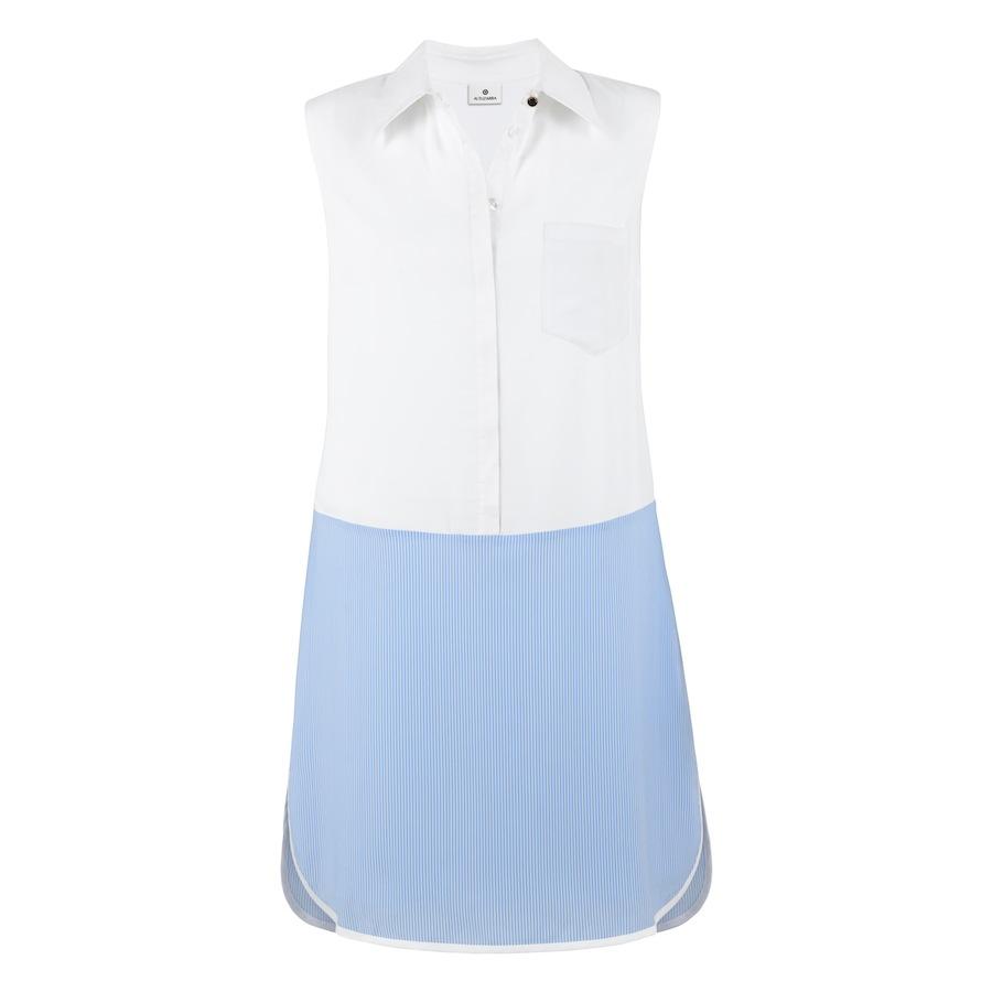 Shirt Dress In White Banker Stripe