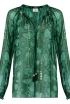 Peasant Blouse In Green Python Print