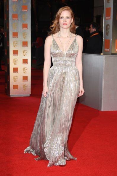 Jessica Chastain at the 2012 Orange British Academy Film Awards