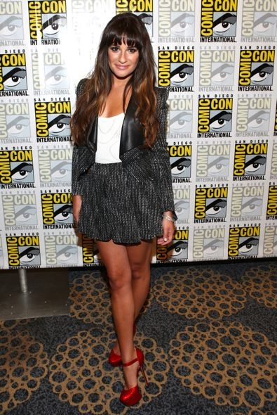 Lea Michele at the Glee Press Room During Comic-Con 2012