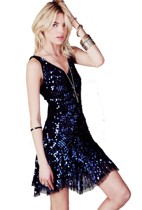 3. Toss on a chic sequin mini dress.
