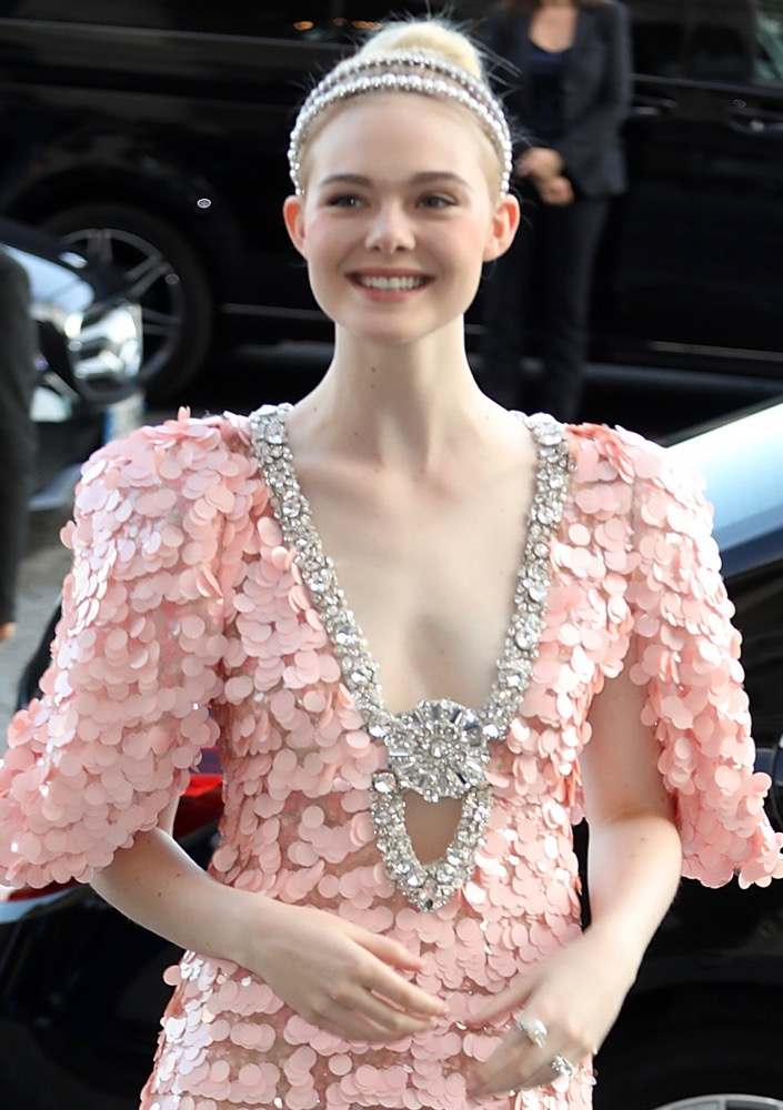 Elle Fanning  Here's How Celebs Are Wearing the Runway's Glitzy Hair Accessories Trend on the Red Carpet bling hairstyles elle fanning paris haute coture fashion week