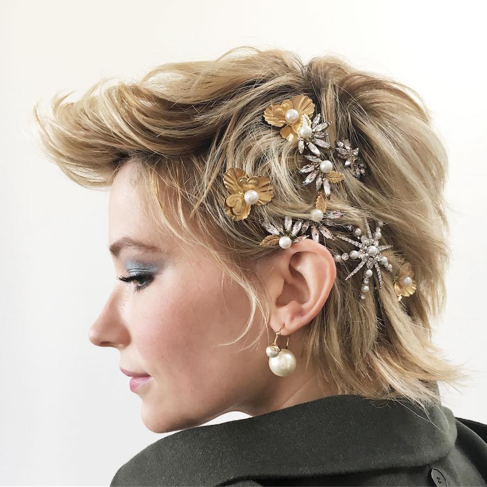 Haley Bennett  Here's How Celebs Are Wearing the Runway's Glitzy Hair Accessories Trend on the Red Carpet bling hairstyles haley bennett dior cruise 2018