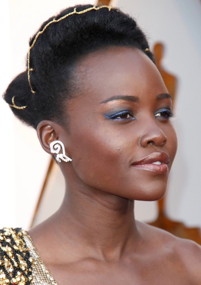 Lupita Nyong'o  Here's How Celebs Are Wearing the Runway's Glitzy Hair Accessories Trend on the Red Carpet bling hairstyles lupita nyongo oscars