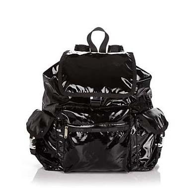 LeSportsac Voyager Backpack in Black Shine