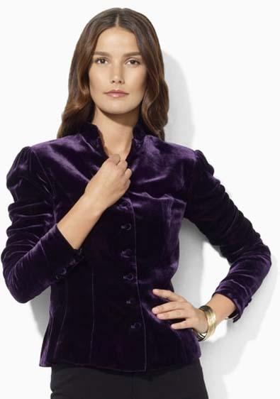 Lauren by Ralph Lauren Purple Puff-Sleeved Jacket