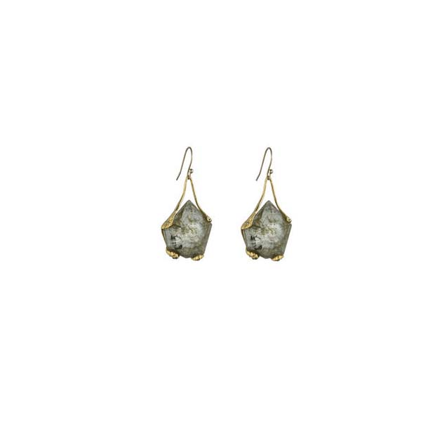 Liquid Gold Suspended Labradorite Doublet Molten Earring