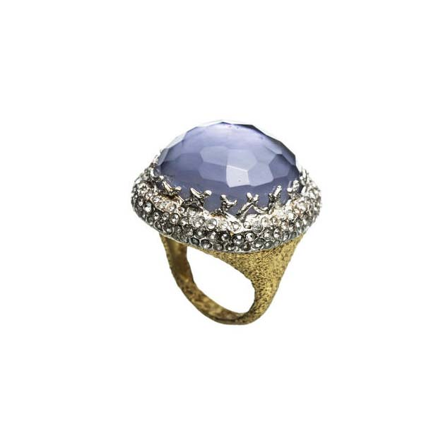 Mauritius Gold Large Iolite Doublet Cushion Ring