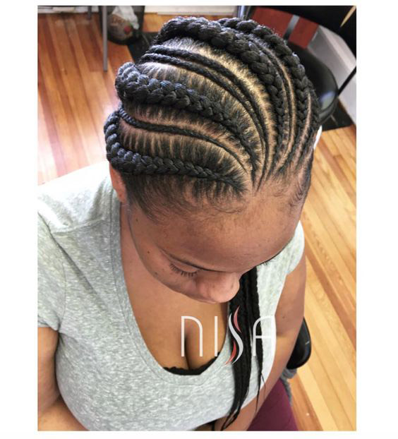 Two under braids with shaved side  Goddess Braids