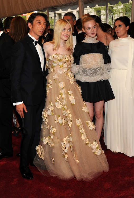 5. Dakota Fanning and Elle Fanning at the 2011 Met Gala in Valentino