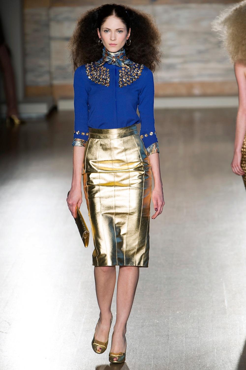 Metallic Pencil Skirt at L'Wren Scott
