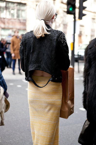 The details - leather jacket with cut open back