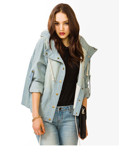 Forever 21 Life In Progress Drawstring Denim Jacket