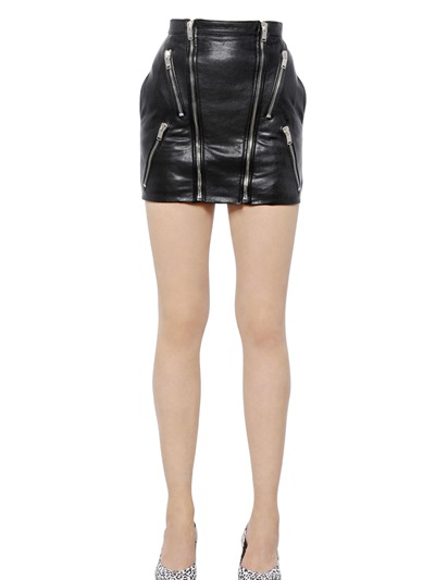 Saint Laurent Zipped Napa Leather Mini Skirt, $2890