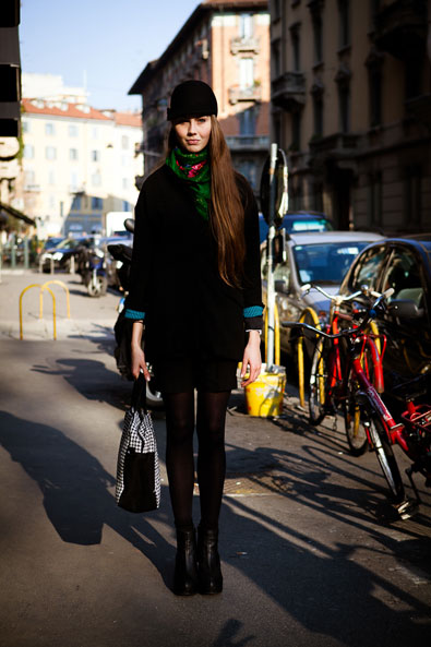on the streets of Milano, the stunning riding cap from Zara